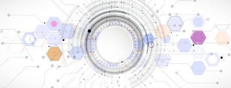 Fondo abstracto del hexágono. Tecnología de diseño poligonal. Minimalismo futurista digital. Vector