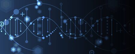 Abstract DNA technology. Science medical concept. Futuristic background.  Wireframe molecules structure