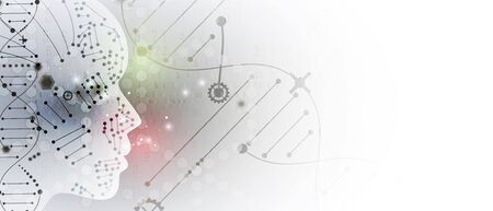 Abstract artificial intelligence DNA technology. Science and social concept.  Futuristic connection structure with cell background  イラスト・ベクター素材