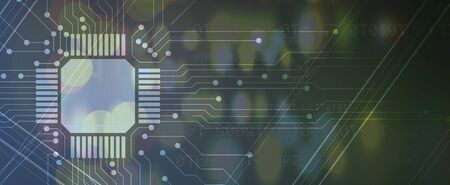 Abstract circuit board futuristic technology processing business background Illustration