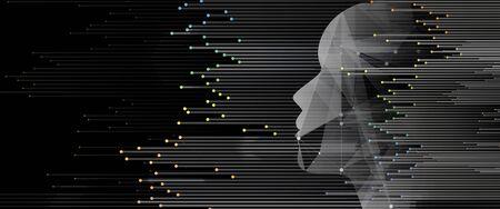Traitement quantique. Apprentissage profond de l'intelligence artificielle. Future nouvelle technologie pour la présentation commerciale ou scientifique. Fond de vecteur Vecteurs