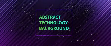 Quantum processing. Deep learning artificial intelligence. Future new technology  for business or science presentation. Vector background Çizim