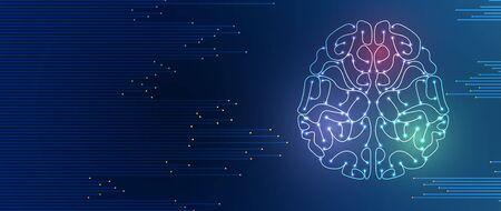 Quantenverarbeitung. Künstliche Intelligenz mit tiefem Lernen. Zukünftige neue Technologie für Geschäfts- oder Wissenschaftspräsentationen. Vektorhintergrund