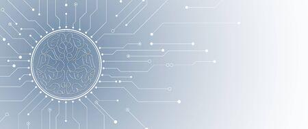 Procesamiento cuántico. Inteligencia artificial de aprendizaje profundo. Futura nueva tecnología para presentación de negocios o ciencia. Vector de fondo