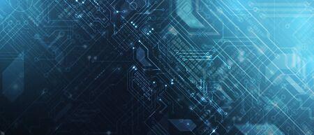 Fondo futuristico di affari di elaborazione di tecnologia del circuito astratto board Vettoriali