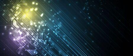 Fondo de negocio de procesamiento de tecnología futurista de placa de circuito abstracto