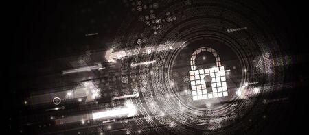 concept de technologie de sécurité numérique Internet syber pour les affaires. Verrouillage sur circuit imprimé Vecteurs