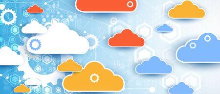 moderne Cloud-Technologie. Integrierter digitaler Webkonzepthintergrund