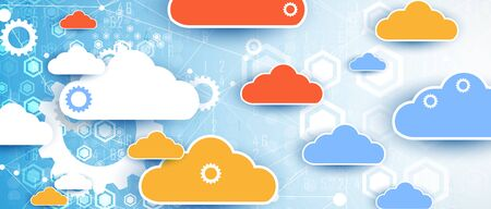 nowoczesna technologia chmury. Zintegrowane tło koncepcji cyfrowej sieci