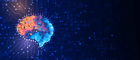 Abstract human brain. Artificial intelligence new technology. Science futuristic background