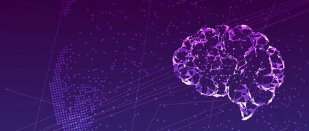 Abstract human brain. Artificial intelligence new technology. Science futuristic background Stock Illustratie