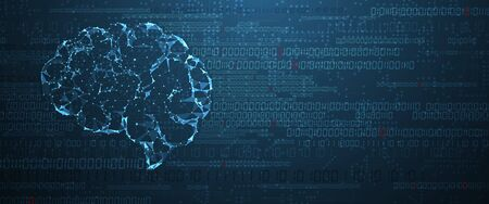 Abstract human brain. Artificial intelligence new technology. Science futuristic background Vettoriali