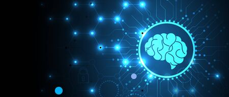 Abstract human brain. Artificial intelligence new technology. Science futuristic background Ilustracja