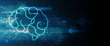 Abstract human brain. Artificial intelligence new technology. Science futuristic background Illustration