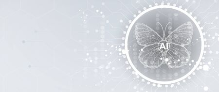 Butterfly concept technology illustration of artificial intelligence. Abstract futuristic background