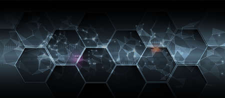 Quantum processing. Deep learning artificial intelligence. Future new technology for business or science presentation. Vector background Vecteurs