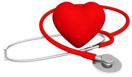 Heart & stethoscope, isolated on white. High quality 3D render. photo