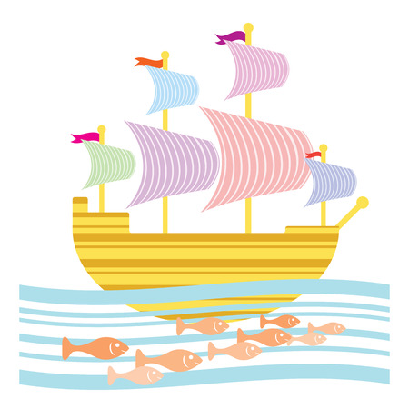Fanciful stripy sailing ship with school of fishes