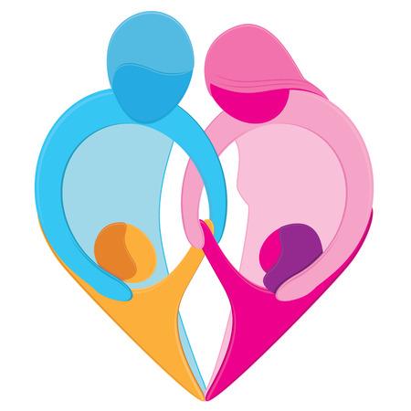 familias unidas: Símbolo de corazón de amor familiar Vectores
