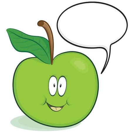 amigas conversando: Personaje de dibujos animados de apple lindo con globo de discurso opcional