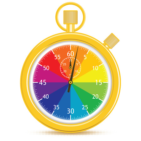 Designers Stopwatch. Gold timer, with a color wheel face.