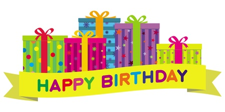 Colorful Gift Boxes &, Birthday Banner. No Gradients.