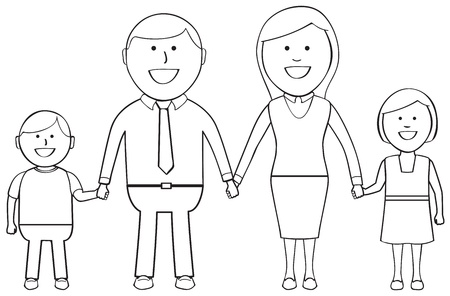 caring hands: Outlined happy family holding hands and smiling