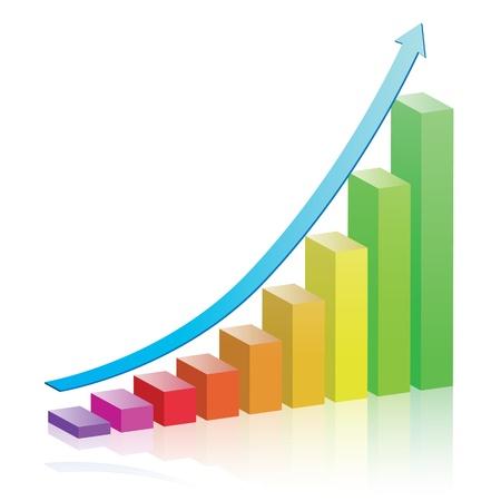 Graphe coloré de la croissance. Dégradés linéaires. Vecteurs