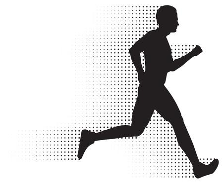 atleta corriendo: Ejecuci�n de silueta de hombre & amp, camino de semitonos. No degradados.