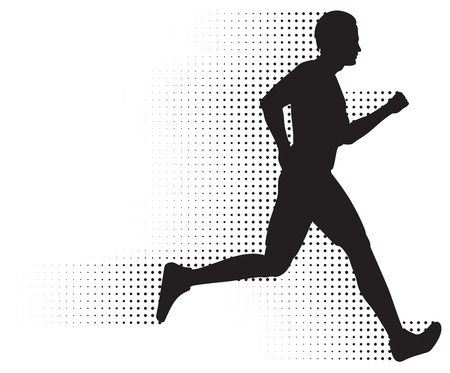 forwards: Running Man Silhouette &amp, Halftone Trail. No Gradients.