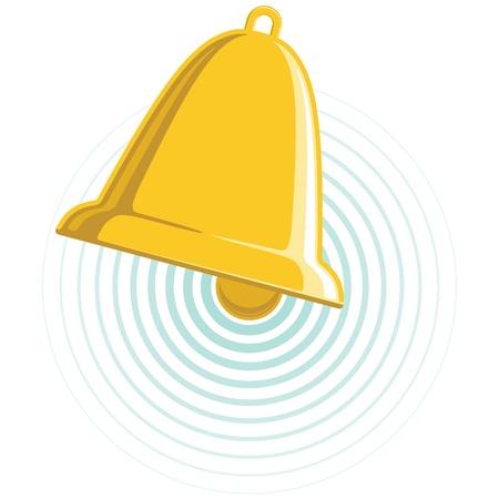 campana de oro combina con ondas de sonido circulares. No degradados.