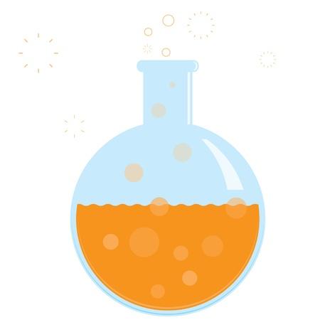 pharmaceutic: chemistry beaker with bubbling formula. No gradients. Illustration