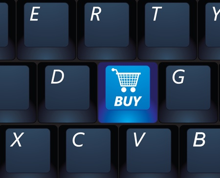 internet shopping buy key on a black keyboard - e-commerce concept illustration Vector