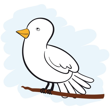 pigeon: cute white dove sitting on a branch looking upwards. No Gradients. Illustration