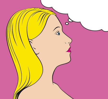 pop art thinking woman with thought bubble. No Gradients. Vector