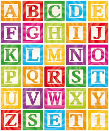 alphabet: Vector Baby Blocks Set 1 of 3 - Capital Letters Alphabet
