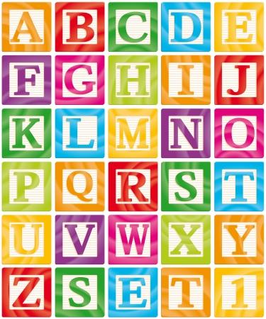 alphabet: Vector Baby Blocks Set 1 von 3 - Capital Letters Alphabet Illustration
