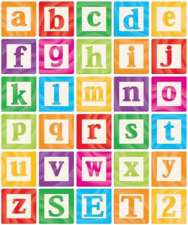 letters alphabet: Vector Baby Blocks Set 2 of 3 - Small Letters Alphabet