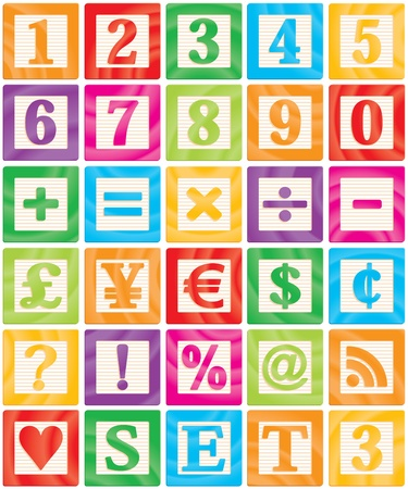 block number: Vector Baby Blocks Set 3 of 3 - Numbers, Maths, Currencies & Symbols Illustration