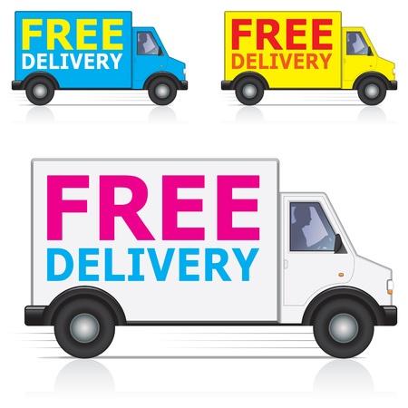 corriere: Consegna gratuita camion  furgone icone con silhouette di conducente maschio Vettoriali