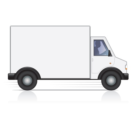 moving truck: Vector white van and man driver. Isolated.