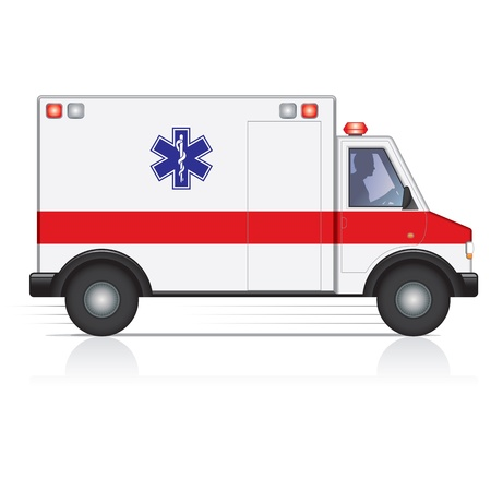 emergency response: Vector ambulance in motion with a driver silhouette
