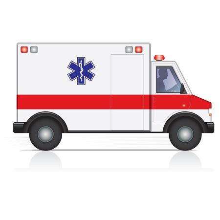 ems: Vector de la ambulancia en movimiento con una silueta conductor