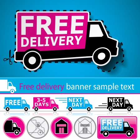 Lorryvan and delivery icons set with cut out coupon illustration, banner and glossy button Vector