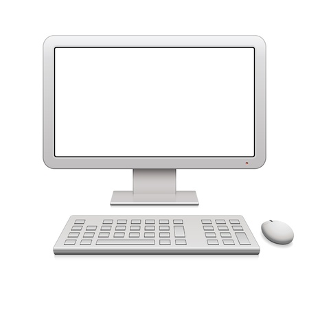 computer keyboard keys: Modern desktop computer with a blank widescreen monitor, wireless keyboard and mouse