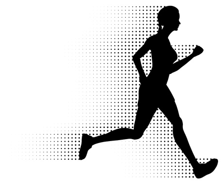 halftone: Running Woman Silhouette & Halftone Trail. No Gradients.