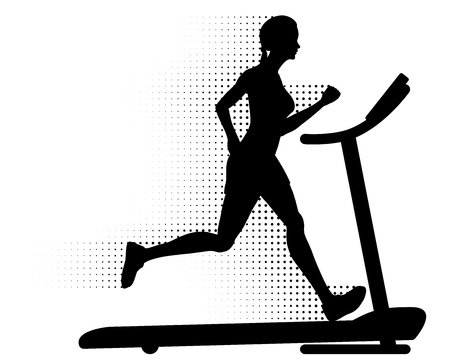 Woman running on a treadmill with halftone motion trail Vector