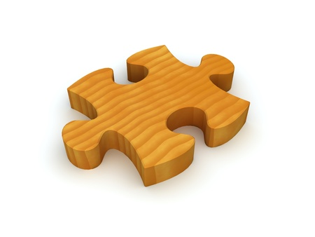 A single wooden puzzle piece representing a natural solution or environmentally friendly solution. photo