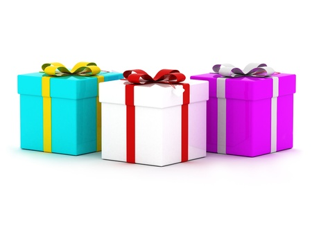 Three colourful gift boxes with ribbons. Isolated on white.