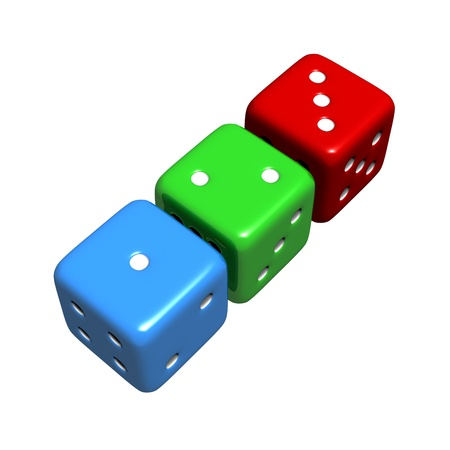 Lucky 1-2-3 Colourful Dice (Isolated)